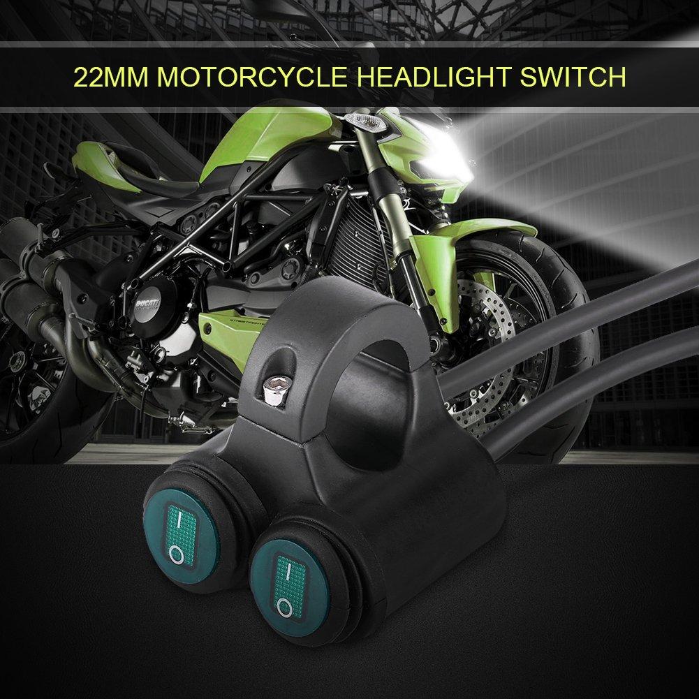 Acouto 22mm Universel Moto Guidon Phare de Frein Antibrouillards Corne Double Bouton de Commande Commutateur D