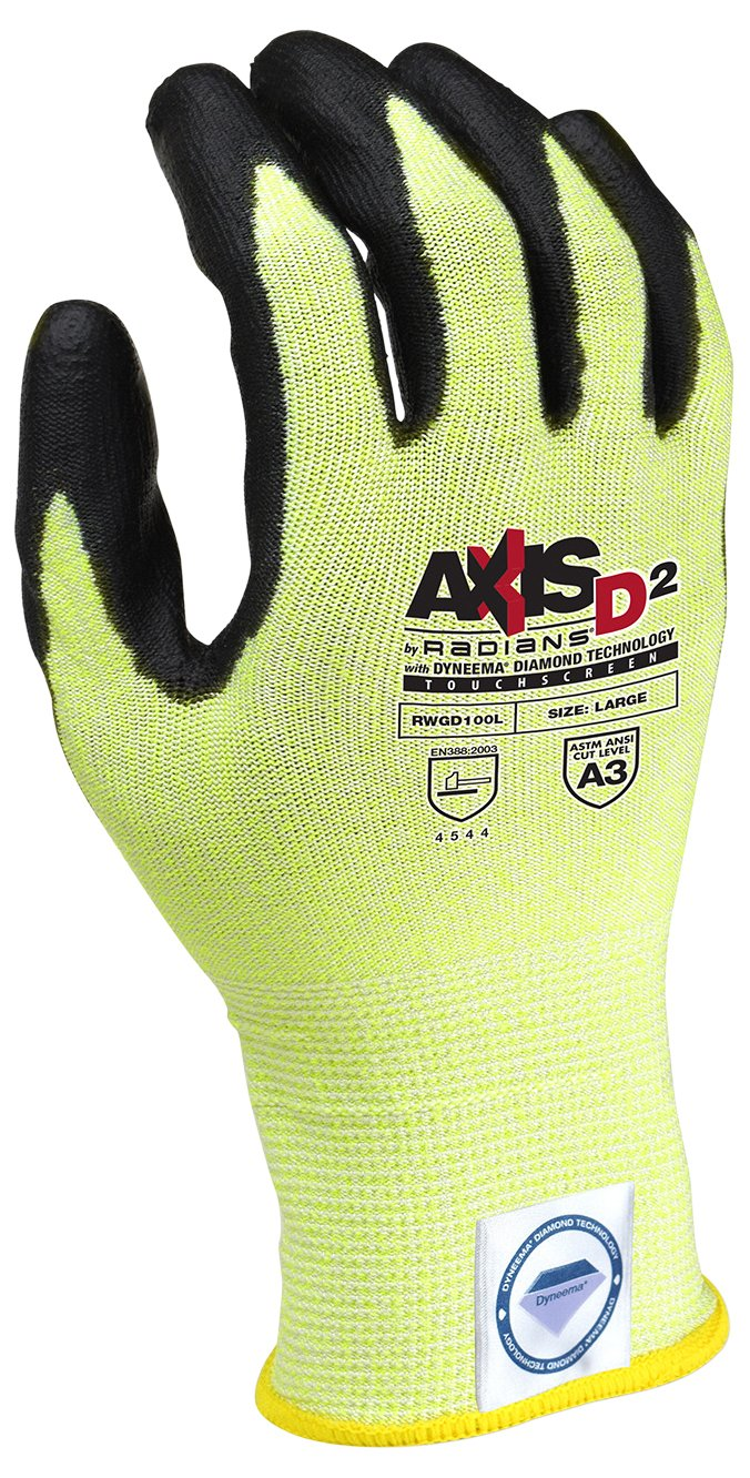Radians RWGD100L Axis D2 Cut Protection Level A3 Touchscreen Glove(12 Pack), Large