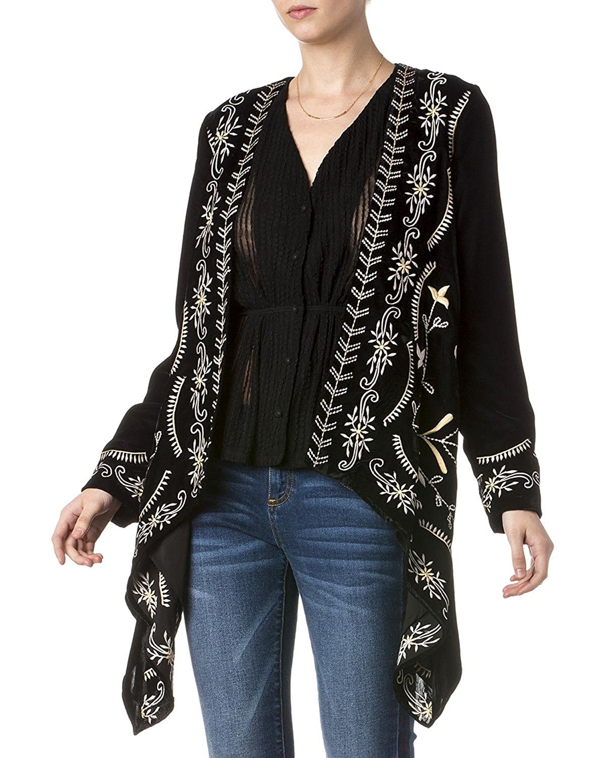 Miss Me Women's Embroidered Velvet Cardigan - Mdj443l 2000217597
