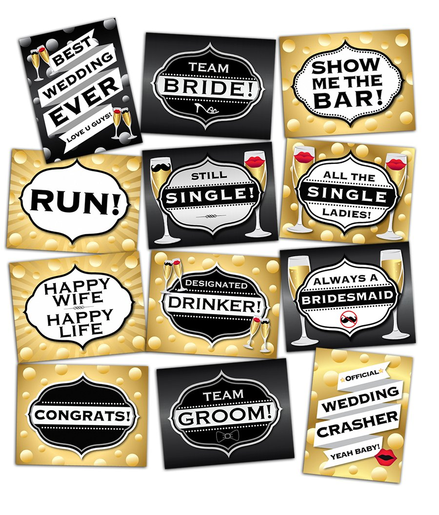 Best Wedding Photo Booth Props - 6 Jumbo Double-Sided Photobooth Signs - Backdrop Supplies Accessories Kit - Perfect for Weddings, Bridal Parties & Wedding Showers