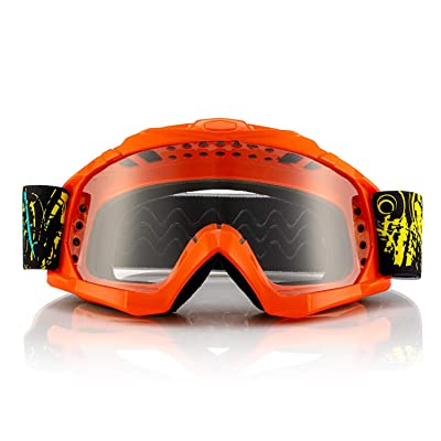 GRM Youth Dirt Bike Goggles, Motorcycle Motocross Goggles for Men MTB Goggles with Anti-Fog & Anti-Scratch Clear Lens, Adjustable, Non-Slip, Windproof & Dustproof ATV Racing Goggles, Orange: Automotive