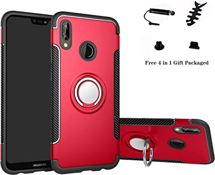 Labanema Huawei P20 Lite Funda, 360 Rotating Ring Grip Stand Holder Capa TPU + PC Shockproof Anti-rasguños teléfono Caso protección Cáscara Cover para Huawei P20 Lite: Amazon.es: Electrónica