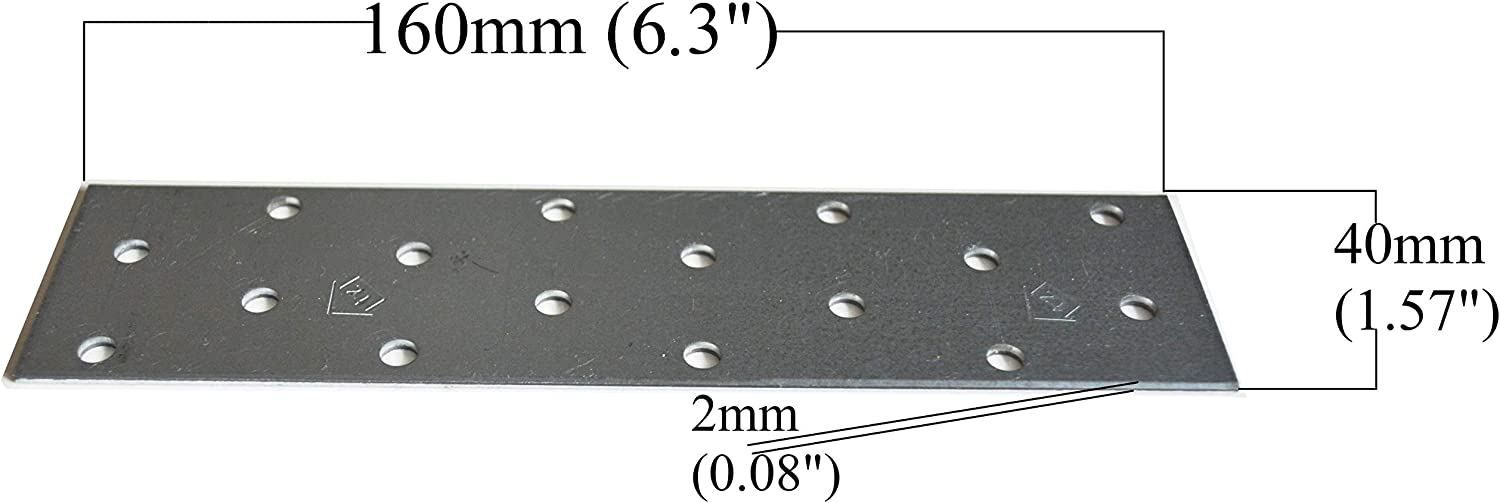 Pack of 10 160 x 60 x 2mm Flat Connecting Joining Plate Galvanised Heavy Duty Metal Steel Sheet 6.3x 2.36x 0.08