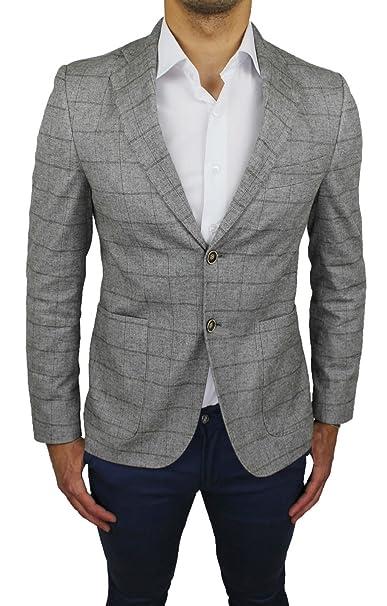 FB CLASS Giacca Uomo Sartoriale Grigio Quadri 100% Made in Italy Blazer Elegante  Casual ( 3ef7b5301e8