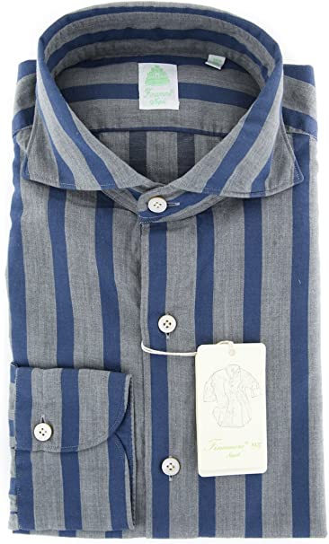 Finamore Napoli Checkered Button Down Cutaway Collar Cotton Slim Fit Dress Shirt
