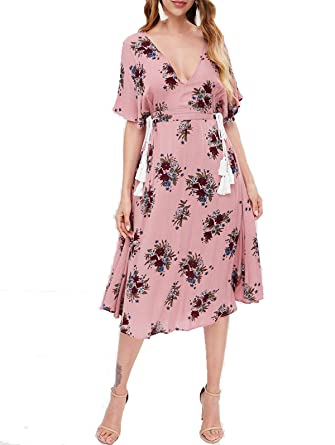 85a861239f2 ZAFUL Women s Sexy Plunging V Neck Batwing Floral Cut Out Maxi Dress Pink