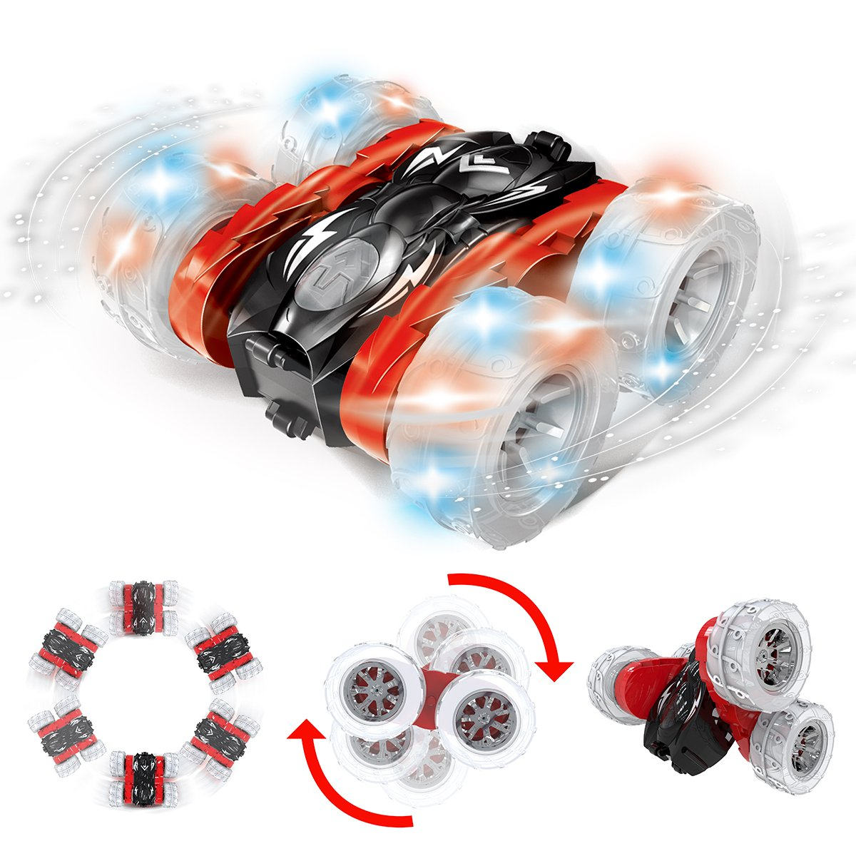 Christmas Kids Gifts 360 Degrees Flipping Double-Side Driving Red Remokids Rc Car Stunt Remote Control Car Toys for Boys Girls Kids Adults 2.4GHz Off-road Electric Rc Car with LED Lights Wheel