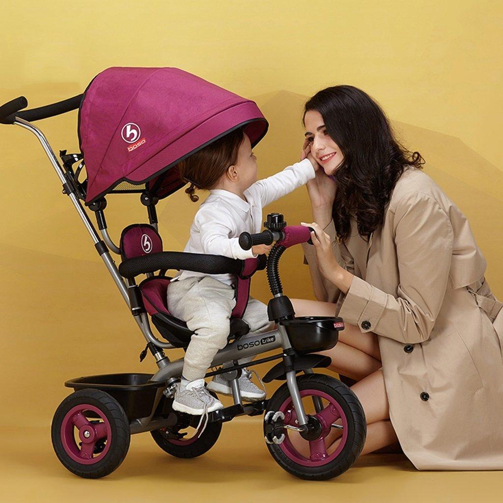 Bicicletas HAIZHEN   Cochecito Triciclo para Nintilde;os Embrague De De De La Rueda Delantera Rueda Vaciacute;a De Titanio No Inflable 2-6 Antilde;os De Edad Toldo Ajustable De Proteccioacute;n Trolley para recieacute;n Nacido 75b4e1