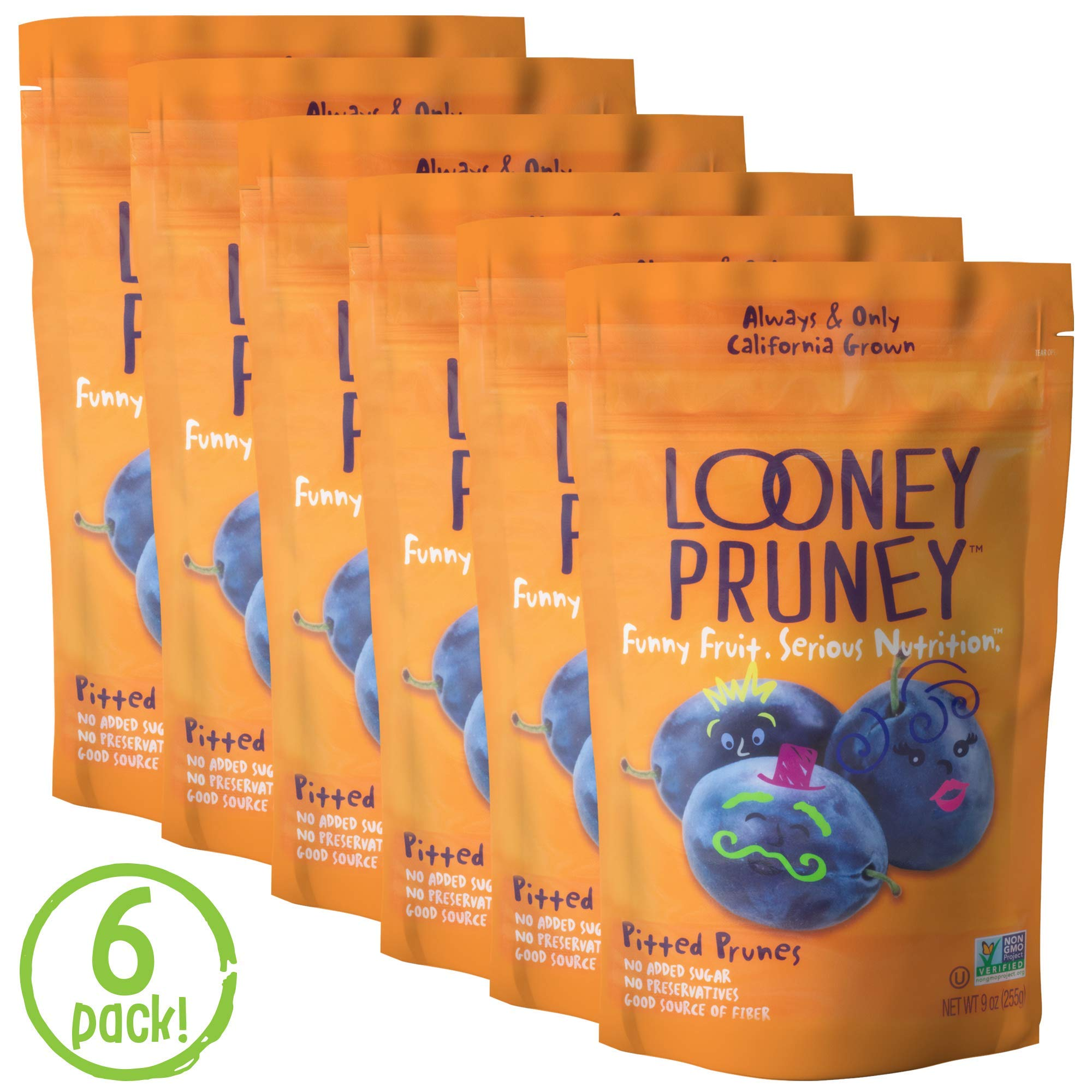 Looney Pruney California Pitted Prunes / Non-GMO Project Verified/ Preservative Free (6pack) by Wilbur Packing Company