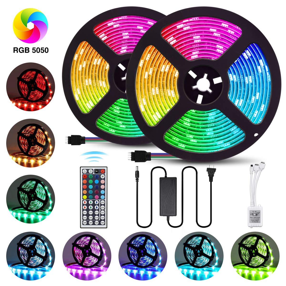 Elfeland LED Strip Lights 32.8FT/10M 300 LEDs SMD5050 RGB Strip Lights IP65 Waterproof Rope Lights Color Changing Flexible Tape Light Kit with 44 Keys IR Remote Controller & 12V 5A Power Supply by Elfeland