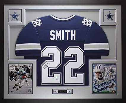 939aff3fc2a Emmitt Smith Autographed Blue Cowboys Jersey - Beautifully Matted and Framed  - Hand Signed By Emmitt