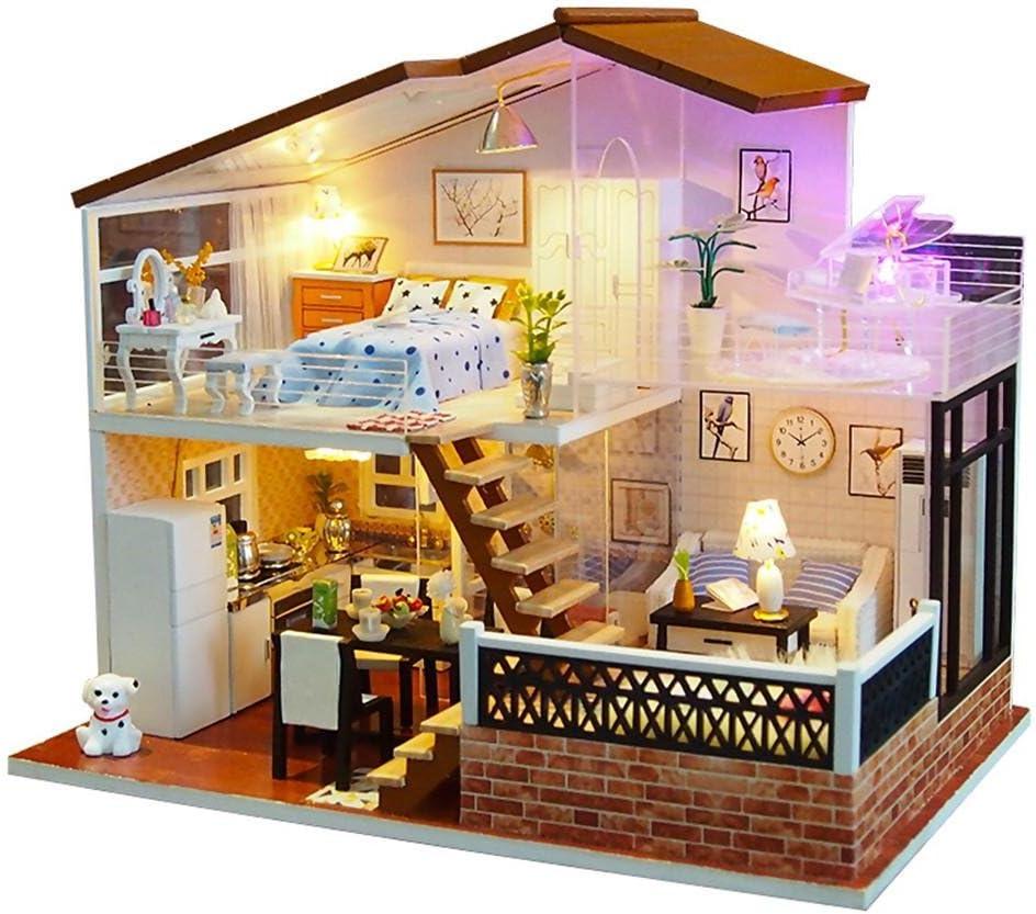 Morningtime DIY Miniatura Casa De Muñecas con Muebles, Dollhouse Kit, Realista 3D Casa De Madera Artesanal, Casas De Muñecas Y Accesorios De Beatie con Luz