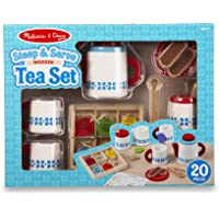 Melissa & Doug 20-Piece Steep and Serve Wooden Tea Set - Play Food and Kitchen Accessories