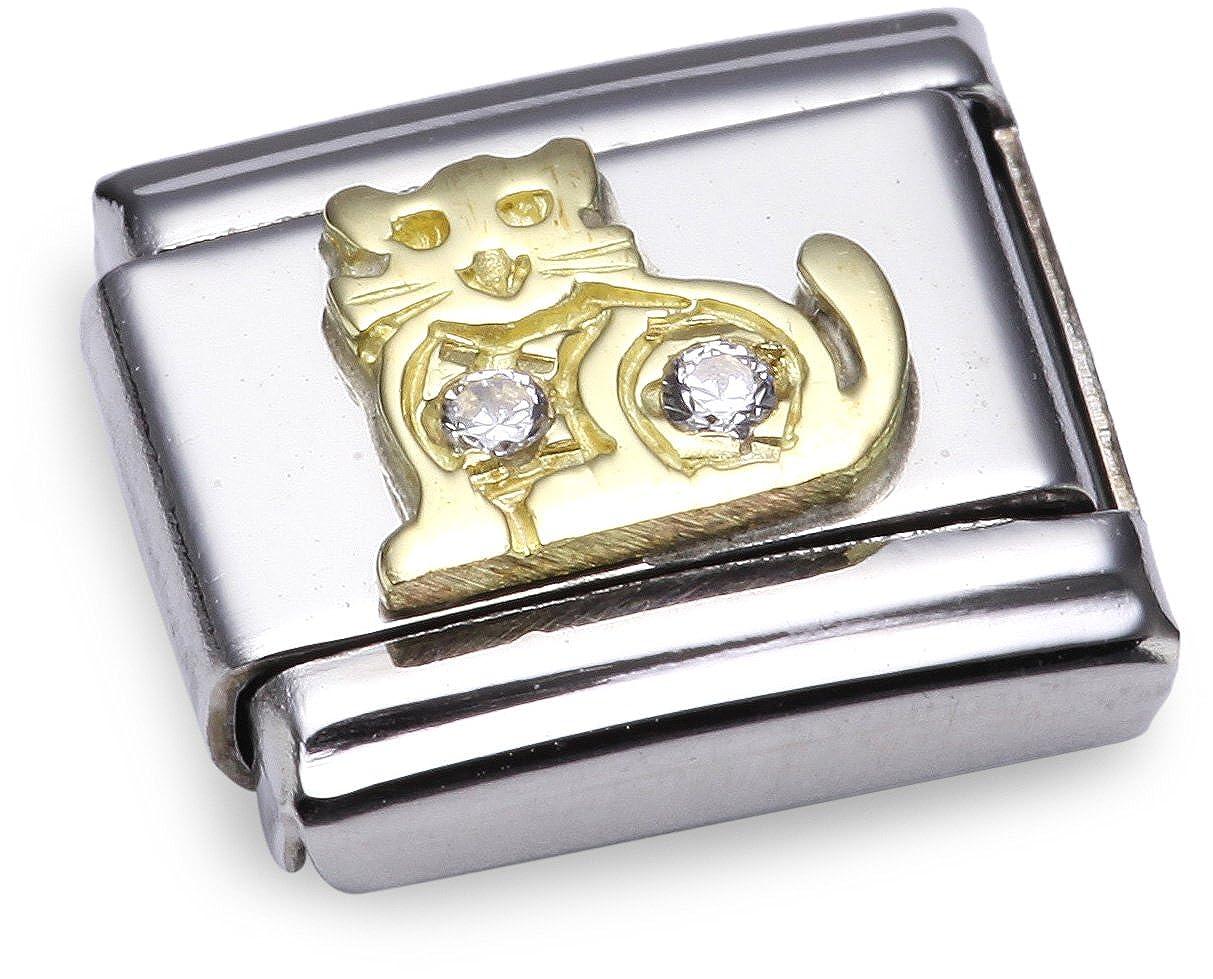 Nomination 030304 - Maillon pour bracelet composable - Femme - Acier inoxydable et Or jaune 18 cts