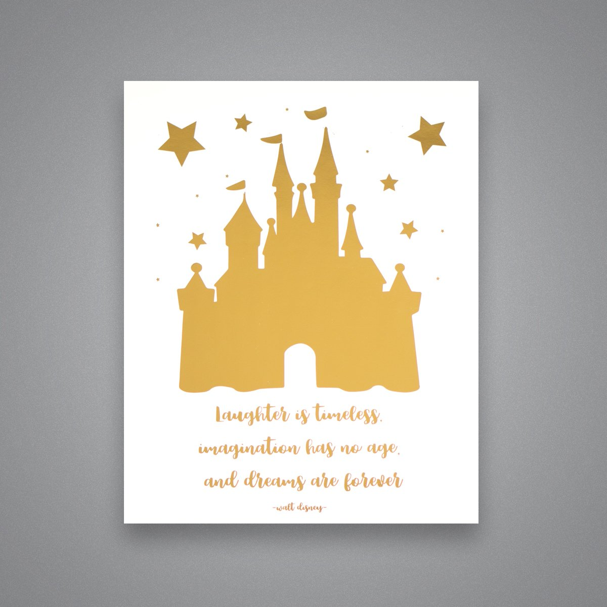 Amazon.com: Cinderella Castle & Disney Quote - Gold Foil Art Print ...