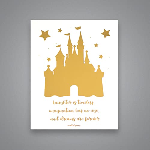 Amazon.com: Cinderella Castle & Disney Quote - Gold Foil Art Print ...