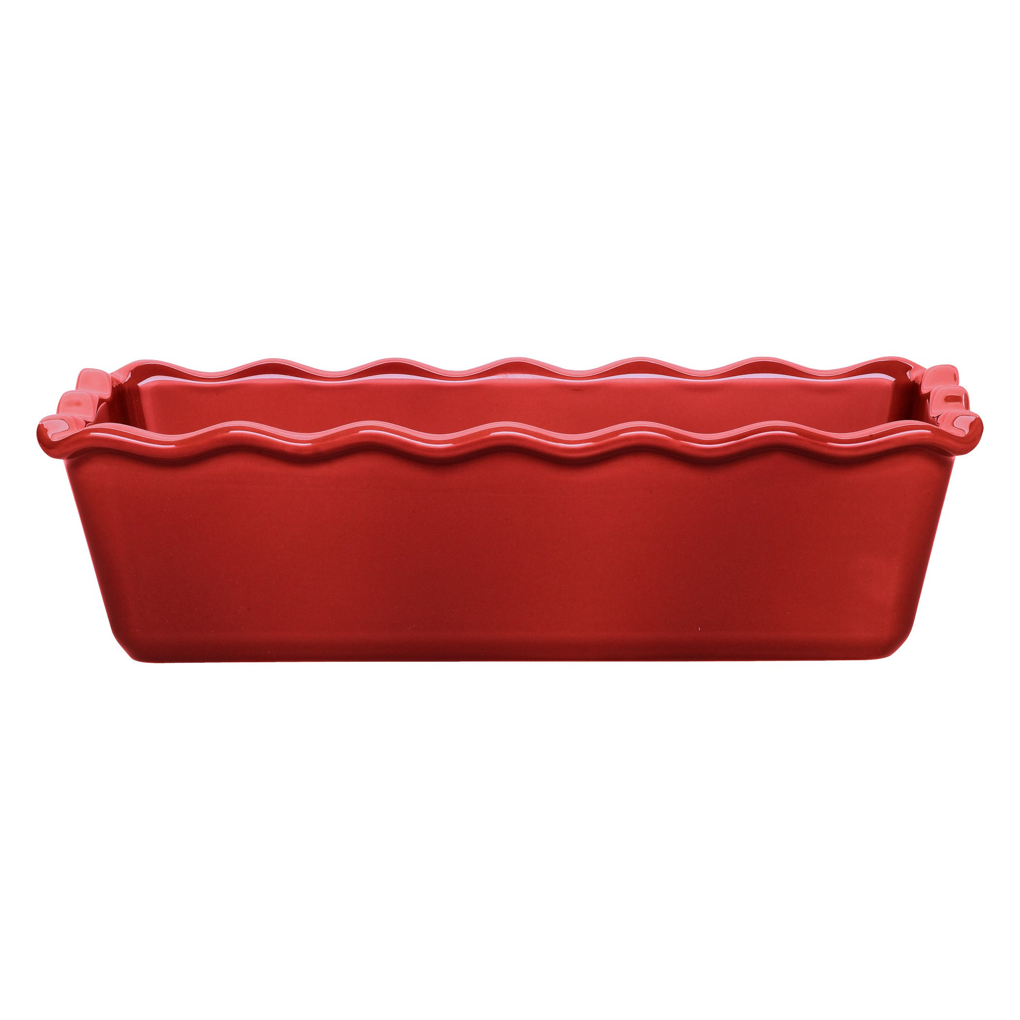 Emile Henry Made In France Ruffled Loaf Pan, 9'' by 5'' by 3'', Burgundy Red