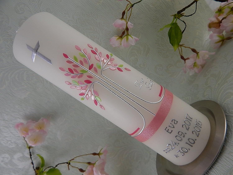 Taufkerze Lebensbaum rosa silber schlicht Taufkerzen Junge Mädchen 250/70 mm inklusive Name und Datum