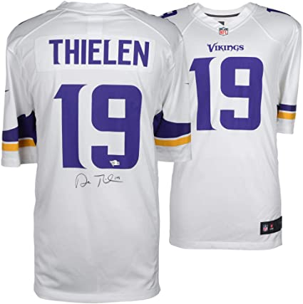 official photos 542e0 3aa54 Adam Thielen Minnesota Vikings Autographed White Nike Game ...
