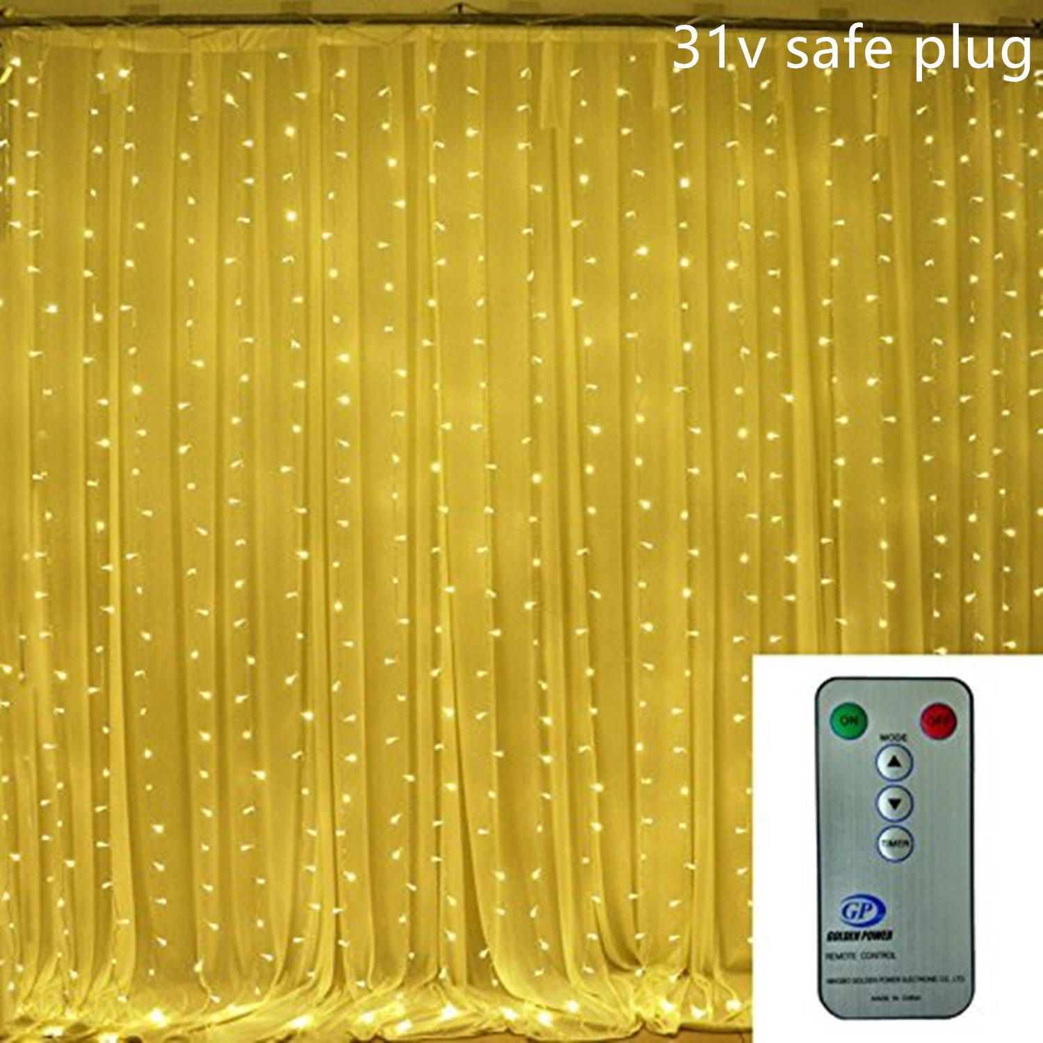 Window Curtain Icicle String Lights for Bedroom Indoor, 600 Led, 6 Meters X 3 Meters, 8 Mode, Backgroud Decoration Fairy Lights for Halloween the Mall Hotels Showcase Bar (Warm White-600 Led with Remote) EchoSari