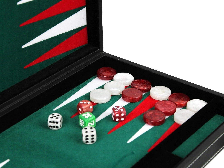 Leather Backgammon Set Board Game With Backgammon Pieces Malachite Green 15