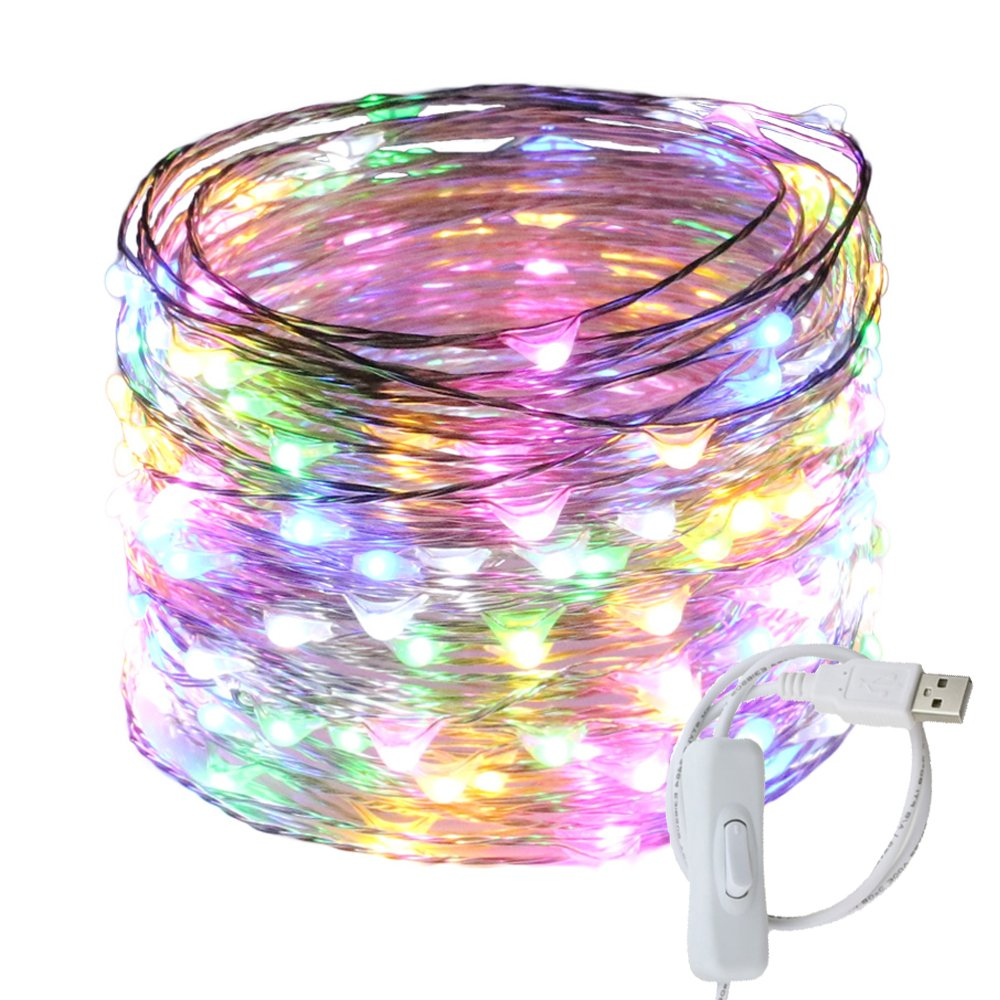Ruichen(TM Fairy Lights USB Plug Power 66Ft 200 LED Silver Wire Starry String Lights with ON/OFF Switch for Bedroom Indoor Outdoor Decorative(Multi Color)