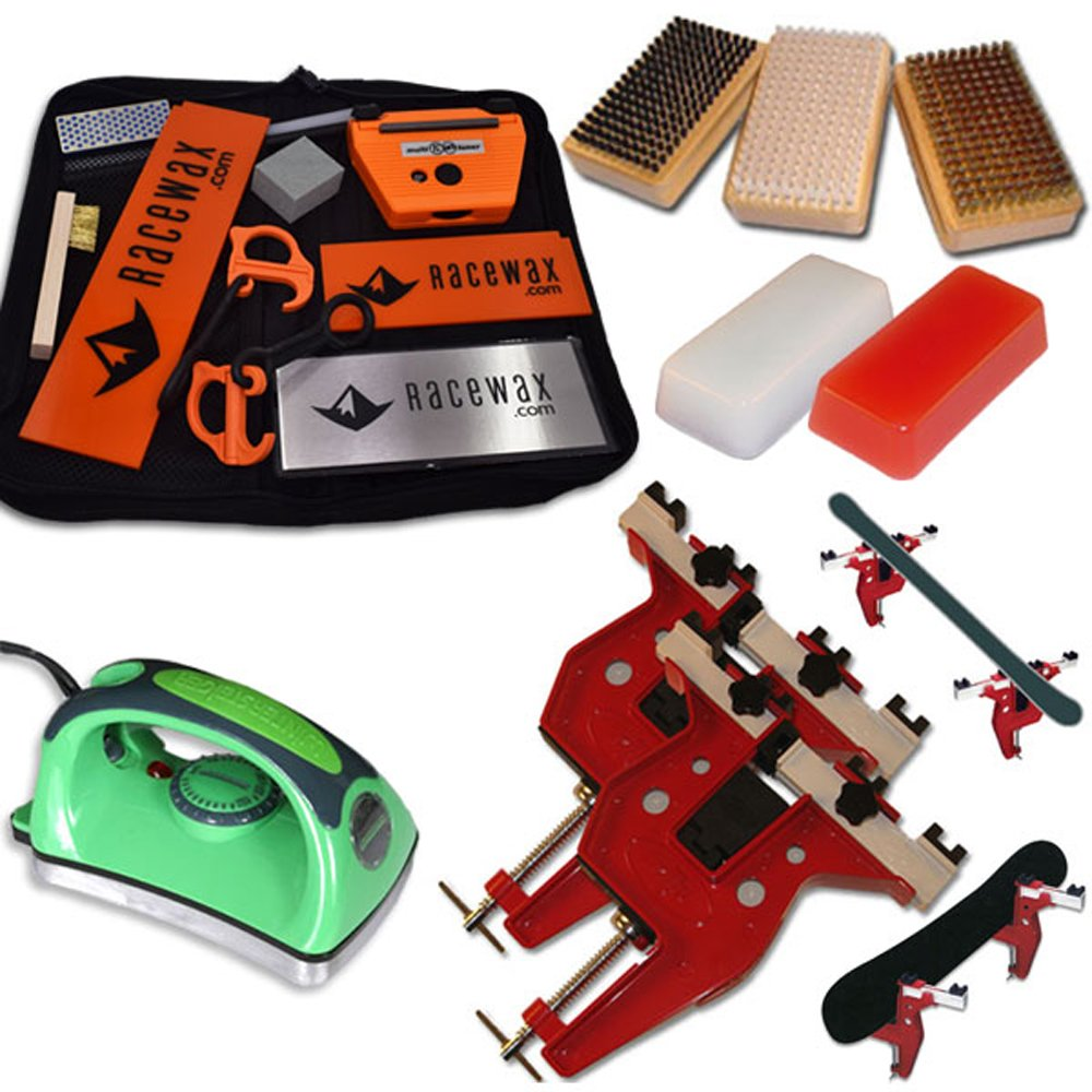 Ultimate Dual Snowboard Ski Race Kit Vise, Iron, 3 Brushes Tools Wax by RaceWax