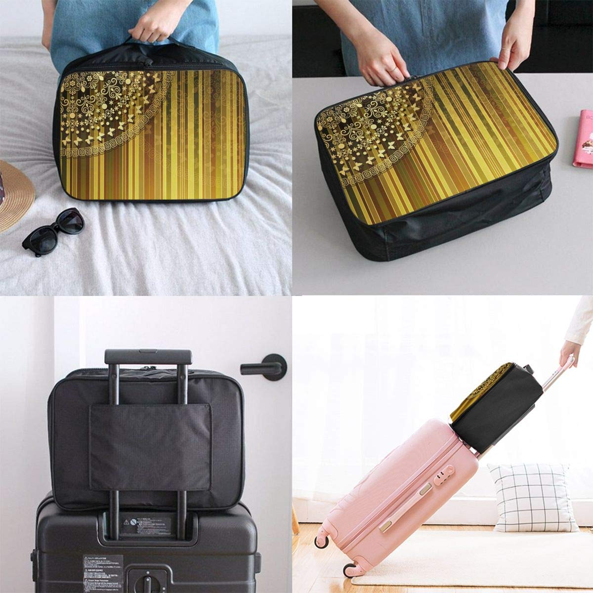 ADGAI Vertically Striped Pattern Canvas Travel Weekender Bag,Fashion Custom Lightweight Large Capacity Portable Luggage Bag,Suitcase Trolley Bag