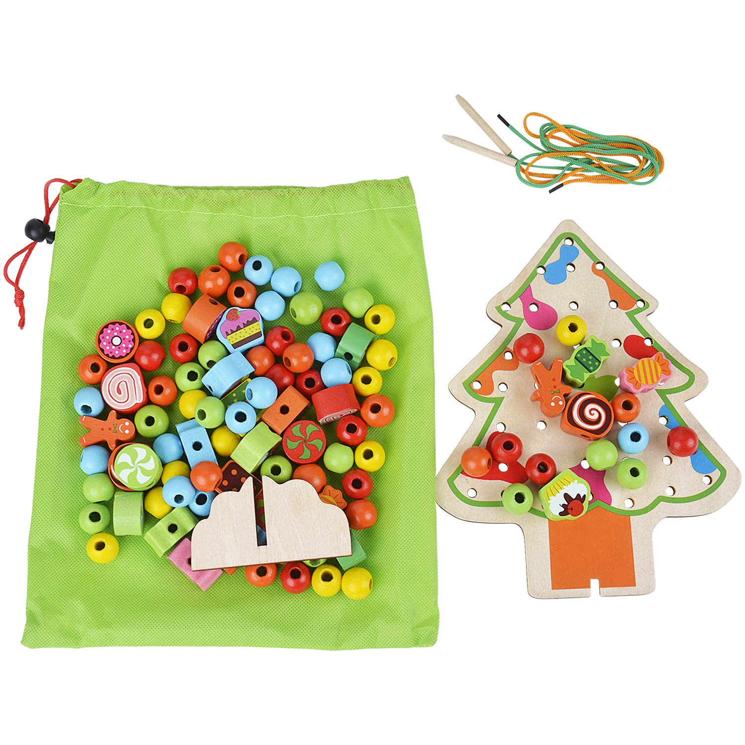 B bangcool Kids' Stringing Beads Toy Christmas Tree Stringing Beads Educational Threading Beading Kit Wood Stringing Beads for Kids