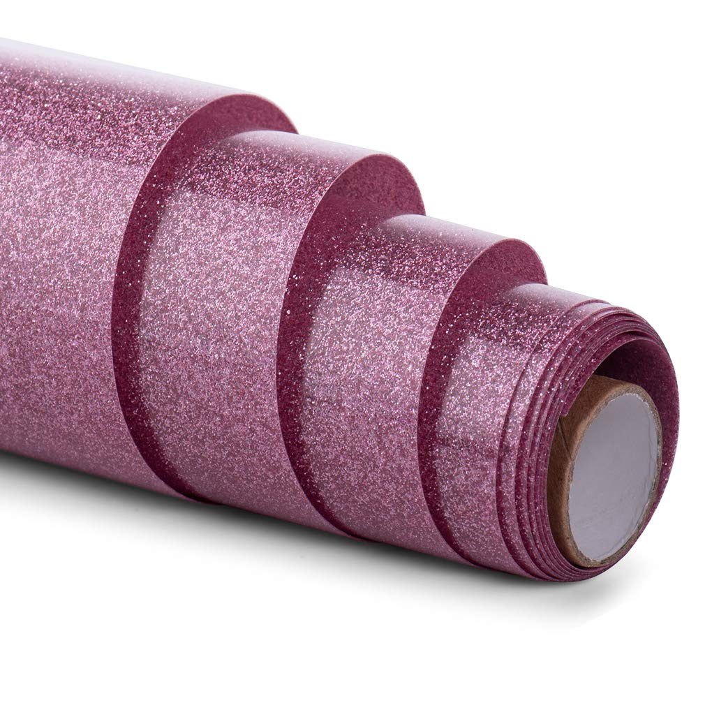 HenPisen Glitter HTV Vinyl - 12'' x 5ft PU Heat Transfer Vinyl roll, Iron On Vinyl for Cricut & Silhouette Cameo Easy to Cut & Weed, Durable,Vibrant Color Design for T-Shirt and Other Textiles(Pink) by HenPisen