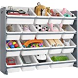 Homfa Toddler's Toy Storage Organizer with 16 White Color Plastic Bins Shelf Drawer for Kid's Bedroom Playroom, Grey…