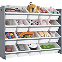 Homfa Toddler's Toy Storage Organizer with 16 White Color Plastic Bins Shelf Drawer for Kid's Bedroom Playroom, Grey Rack