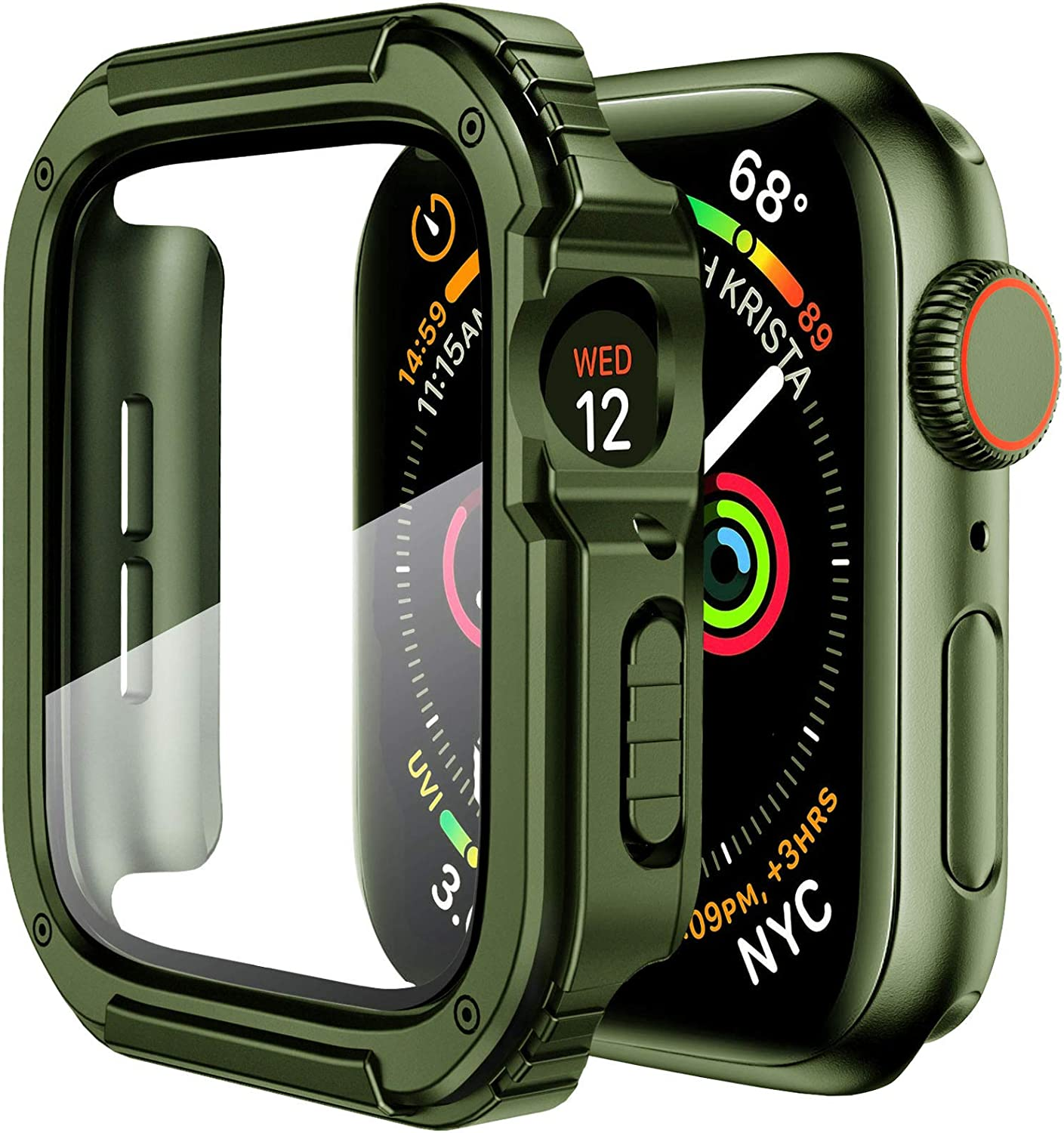 Mesime Rugged Case Cover Compatible for Apple Watch 44mm with Tempered Glass Screen for iwatch Series 4 5 6 SE Protective Bumper Accessories Hard Case for Women Men -Army Gree