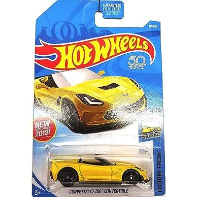Hot Wheels 2020 50th Anniversary Factory Fresh Corvette C7 Z06 Convertible 98/365, Yellow: Toys & Games
