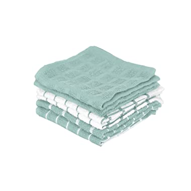 "Ritz 100% Terry Cotton, Highly Absorbent Dish Cloth Set, 12"" x 12"", 6-Pack, Dew"
