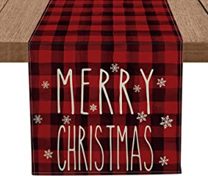 Artoid Mode Red and Black Buffalo Plaid Merry Christmas Snowflakes Table Runner, Seasonal Winter Xmas Holiday Tablecloth Kitchen Dining Table Linen for Indoor Outdoor Home Party Decor 13 x 72 Inch