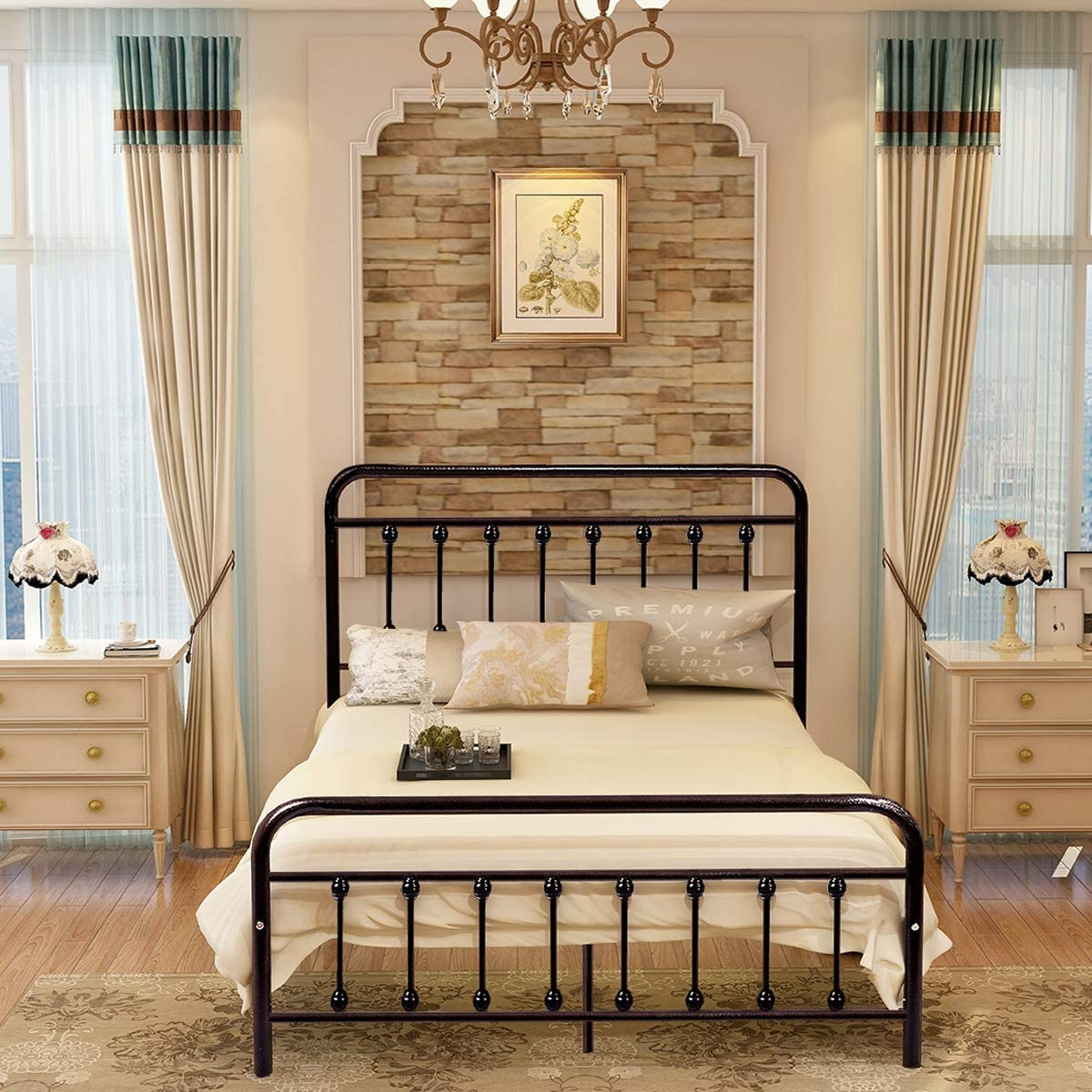 Dark Copper Metal Platform Bed Box Spring Replacement Foundation with Headboards Heavy Duty Steel Slats, Full