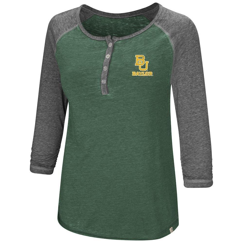 Colosseum Womens Baylor Bears Henley 3 /4長袖Teeシャツ B07DWLXSJ7  Small