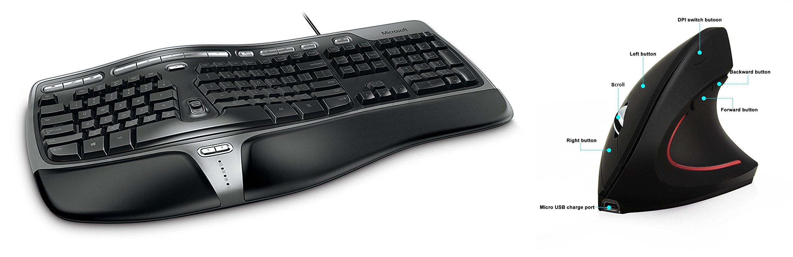 Microsoft Natural Ergonomic Keyboard 4000 for Business - Wired + Ergy - The Ergonomical Mouse - Wireless Optical Rechargable Battery Vertical Mouse - 2.4 Ghz, 6 Buttons - Adjustable DPI