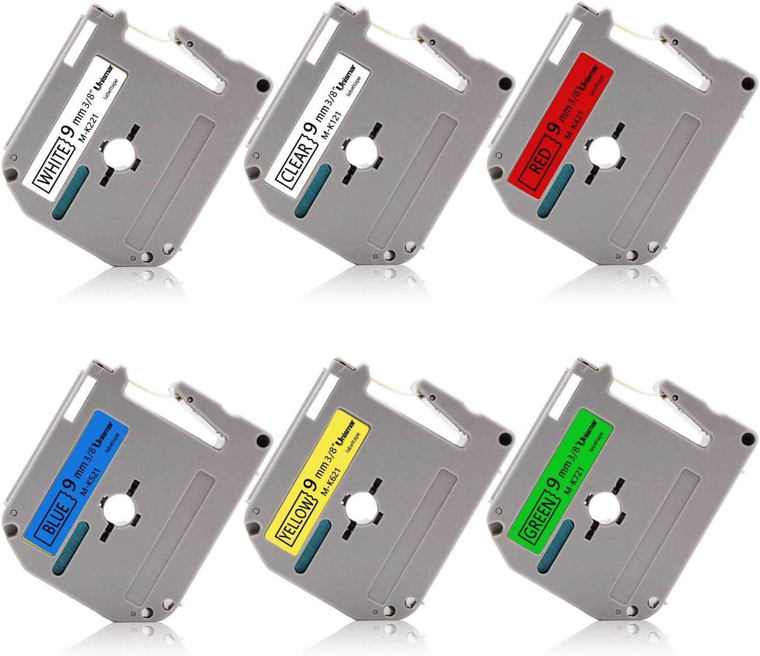 """6PK M-K MK 121 221 421 521 621 721 Label Tape For Brother P-Touch PT-80SCCP 3//8/"""""""