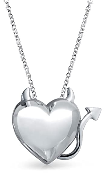 9c3a454e1b16 Image Unavailable. Image not available for. Color  Devil Horns Heart Shape  Slide Pendant Necklace For women For Girlfriend Shinny 925 Sterling Silver  ...