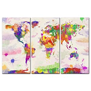 Watercolour World Map Canvas Print Wall Art Paintings For Home Decor In Hand Painted Style 3 Pieces Panel Modern Framed Artwork Pictures For Living Room Decoration Map Photo Prints On Canvas