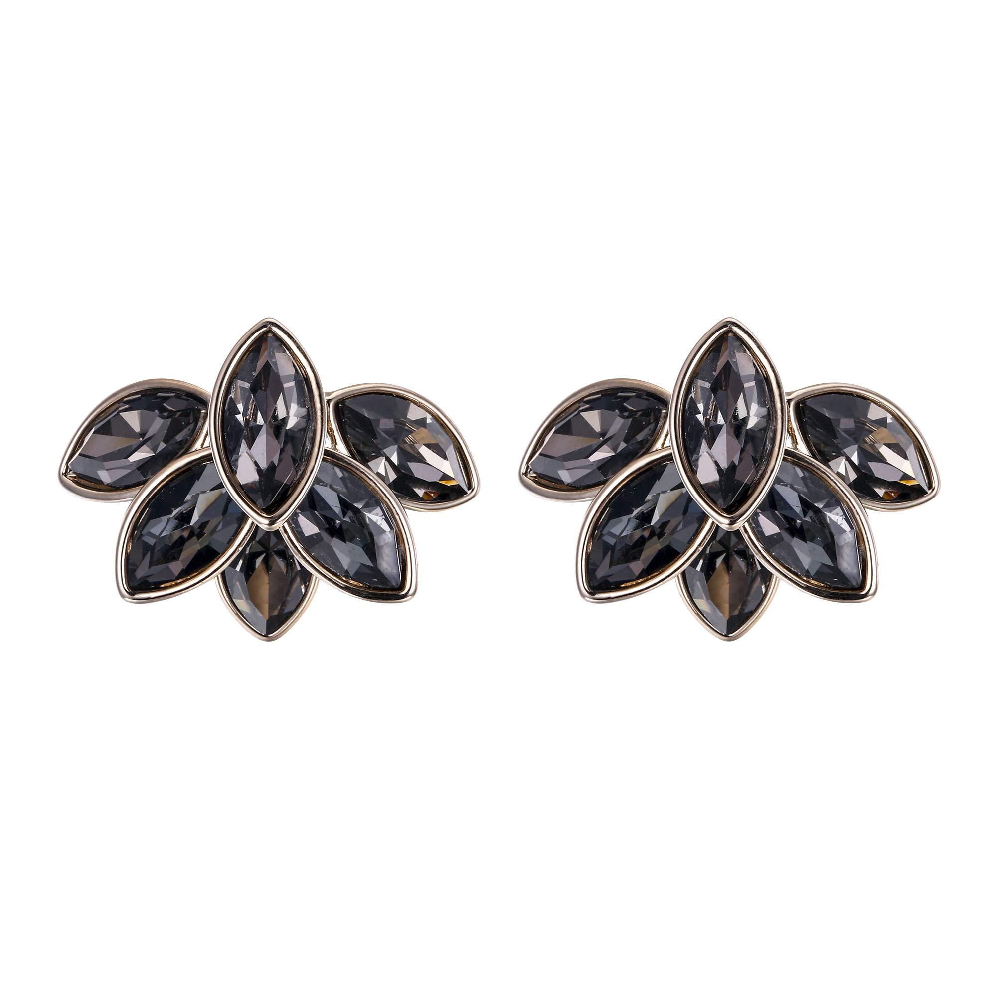 BriLove Women's Wedding Bridal Crystal Multi Marquise-Cut Leaf Ear Jacket Earrings Grey Black Gold-Toned