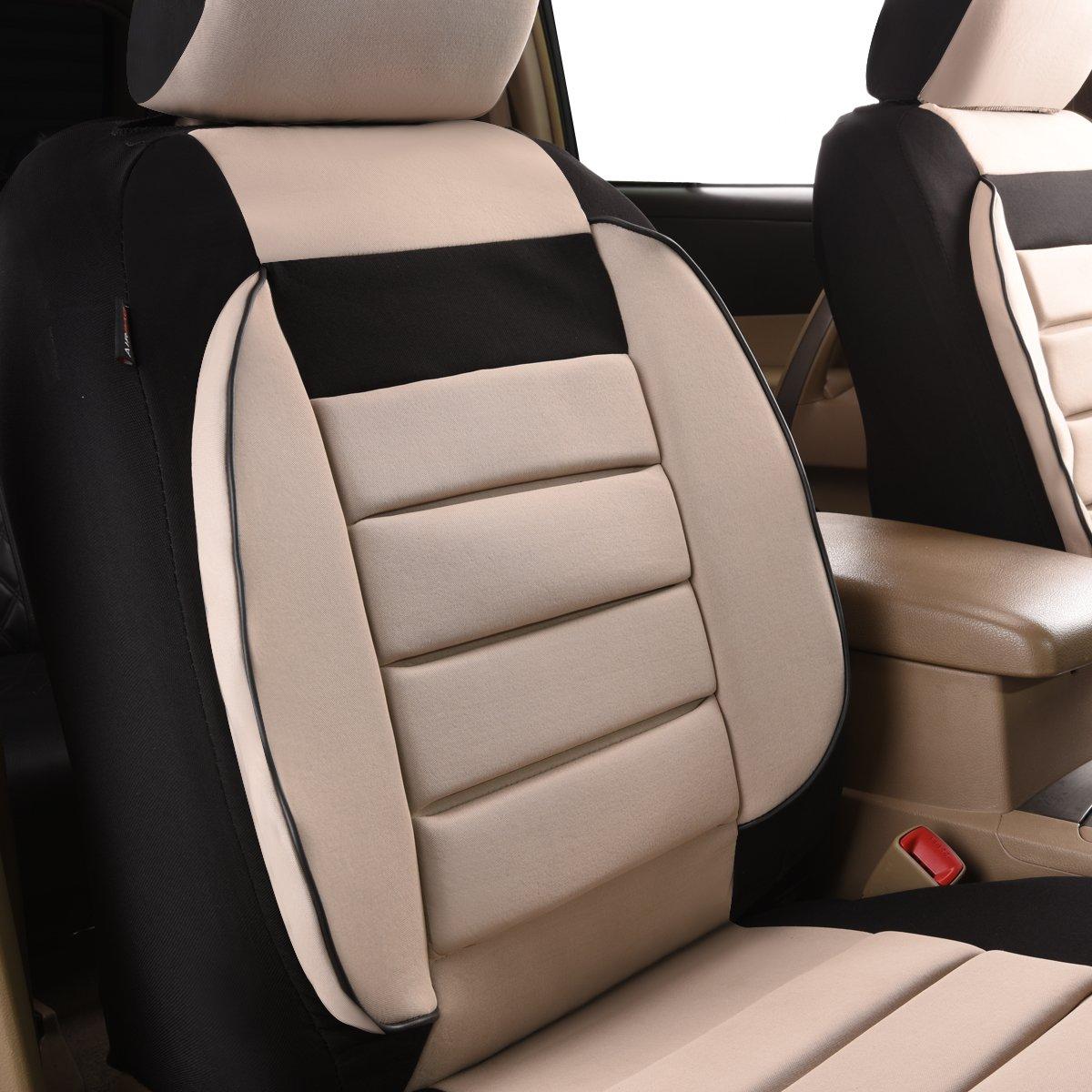 Airbag Compatible negro y gris con compuesto esponja interior CAR PASS 6pcs Elegance Universal Automobile Juego de fundas para asientos delanteros package-fit para veh/ículos
