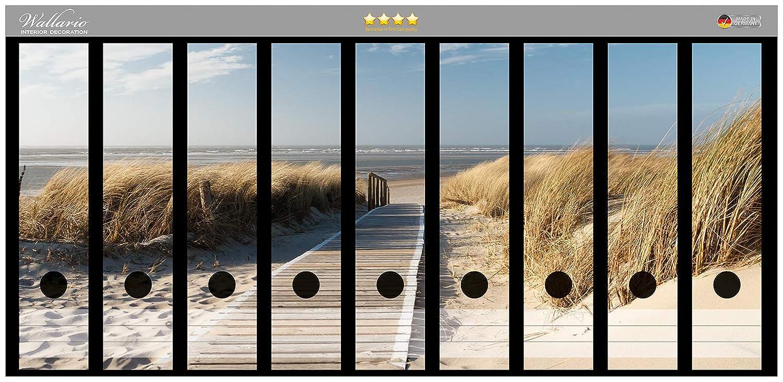 passend f/ür 8 schmale Ordnerr/ücken Gr/ö/ße 8 x 3,5 x 30 cm Wallario Ordnerr/ücken Sticker Auf dem Holzweg zum Strand in Premiumqualit/ät