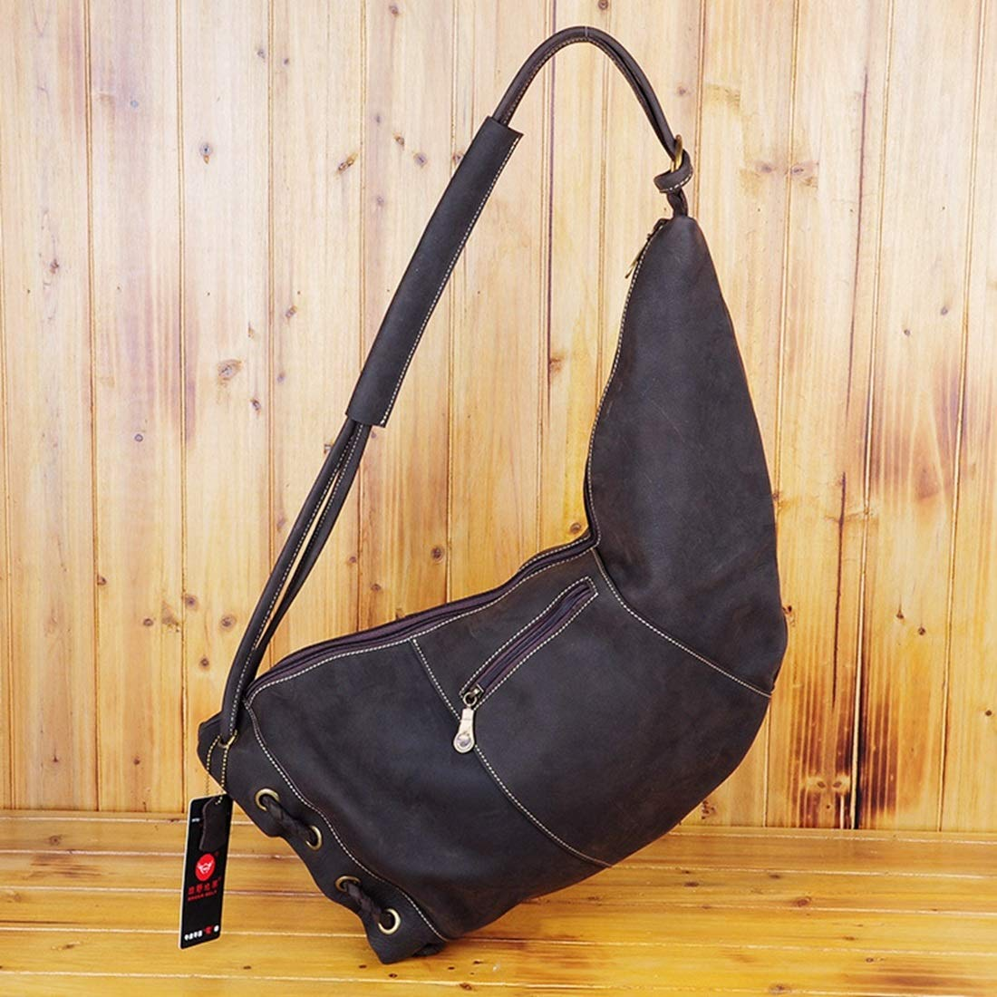Color : Photo Color RABILTY Horn Type Genuine Leather Men and Women Shoulder Bags Crossbody Bag Chest Bag