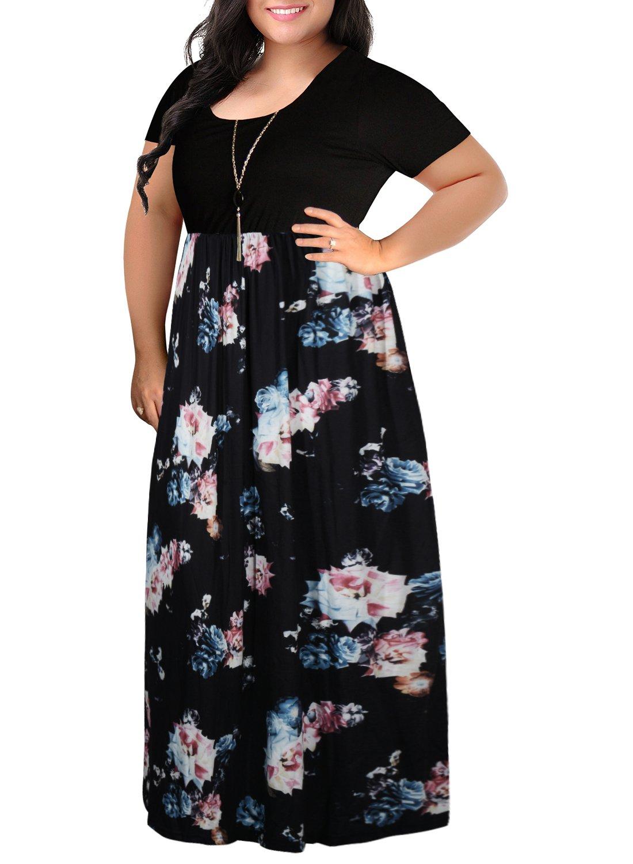 Nemidor Women's Chevron Print Summer Short Sleeve Plus Size Casual Maxi Dress(16W,Black Rose)