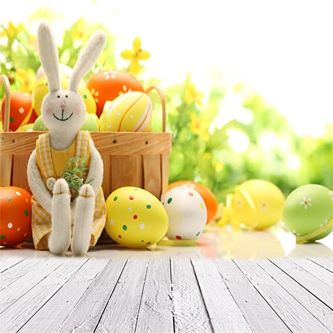 Zhy Rainbow Bunny Rabbit Cartoon Backdrop 7X5FT Colorful Balloon Eggshell Easter Party Baby Shower Photography Background Studio Props 771