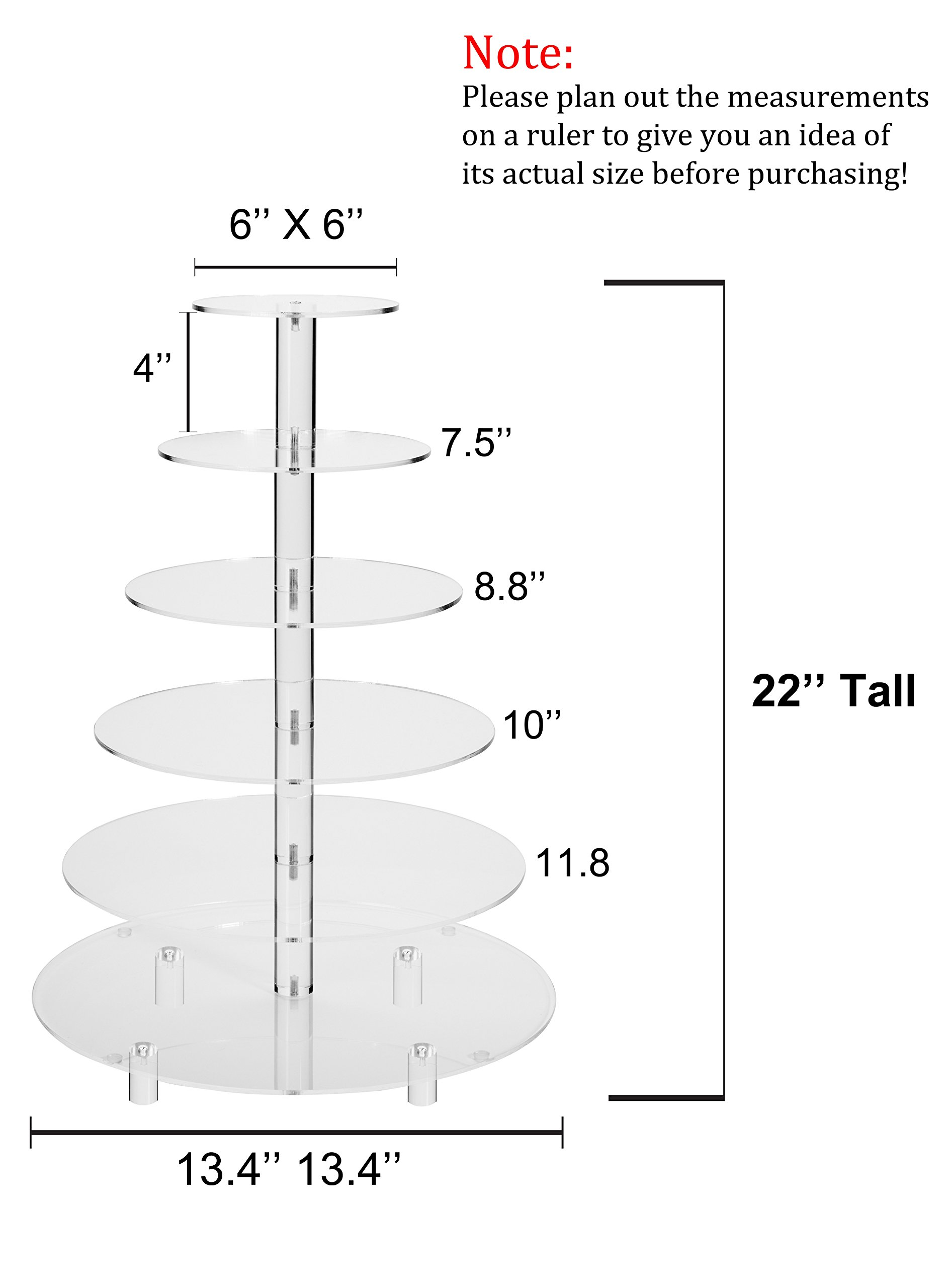 Jusalpha 6 Tier Round Acrylic Cupcake Stand-cake stand-dessert stand, cupcake Tower 6RFs (6 Tier With Base) (6RF-small) by Jusalpha (Image #2)