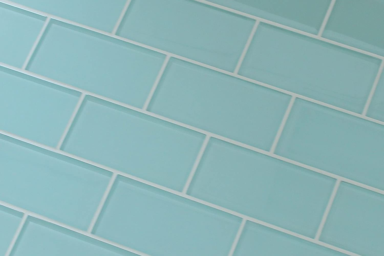 3 x 6 sample piece seafoam 3x6 glass subway tiles amazon dailygadgetfo Image collections